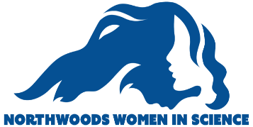 Northwoods Women in Science logo; an individual with flowing hair resembling the outline of Lake Superior